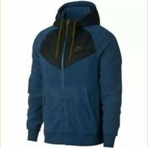 NEW Nike Mens Winter Fleece Hoodie Blue